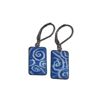 Blue Wave Swirl Enameled Earrings by Janet Crosby