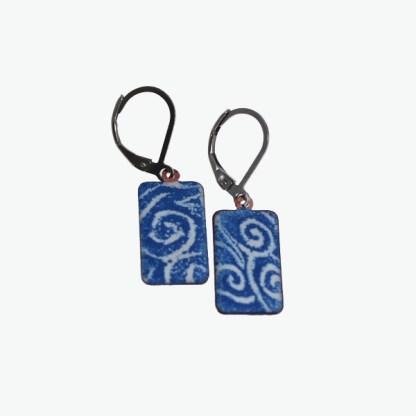 Blue Wave Swirl Enameled Earrings by Janet Crosby