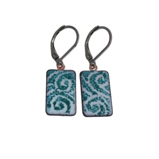 Teal Wave Swirl Enameled Earrings by Janet Crosby
