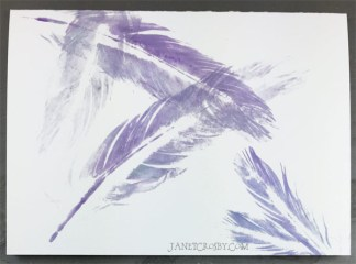 Hand-printed Feather Card - Purple
