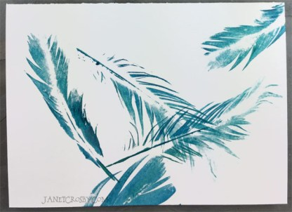 Hand-printed Feather Card - Teal
