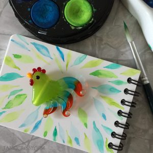 Mini Watercolor and Chicken Glass Bead by Janet Crosby