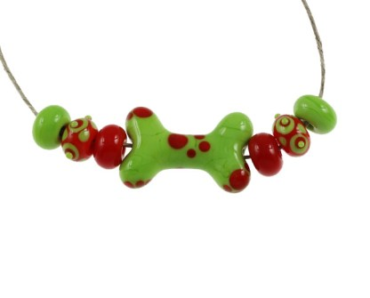 Orange and Lime Dog Bone Set by Janet Crosby