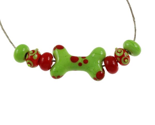 Orange and Lime Dog Bone Set by Janet Crosby