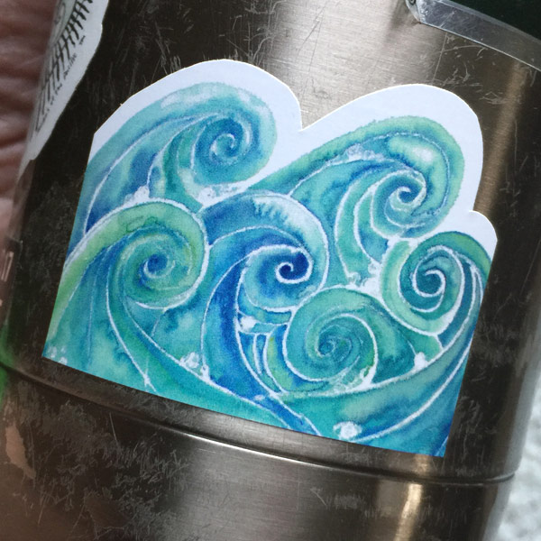 Watercolor Waves vinyl sticker by Janet Crosby