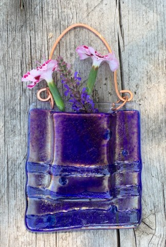 Horizon Lines -- Fused Glass flower vase by Janet Crosby