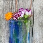 Spring Creek -- Fused Glass flower vase by Janet Crosby