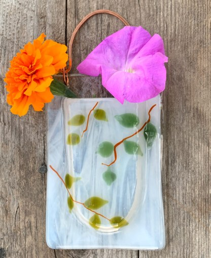Lacey Leafy -- Fused Glass flower vase by Janet Crosby