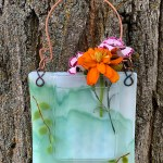 Misty Mountain -- Fused Glass flower vase by Janet Crosby