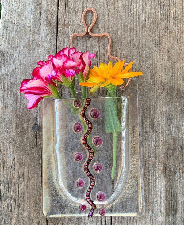 Zig Zag Sparkle -- Fused Glass flower vase by Janet Crosby