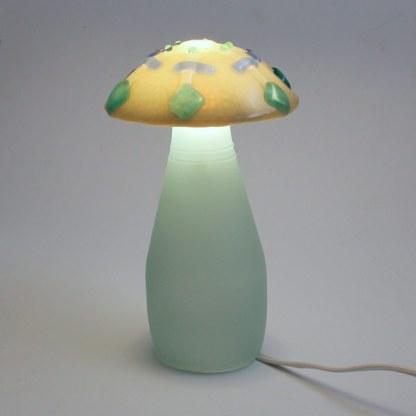 Fused glass mushroom lamp by Janet Crosby