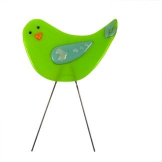 Garden Birds - Green Bird Love by Janet Crosby