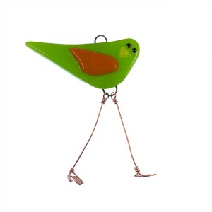 Lime Fire Wing Mini Bird by Janet Crosby