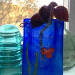 Goldfish Bowl fused glass pocket vase by Janet Crosby