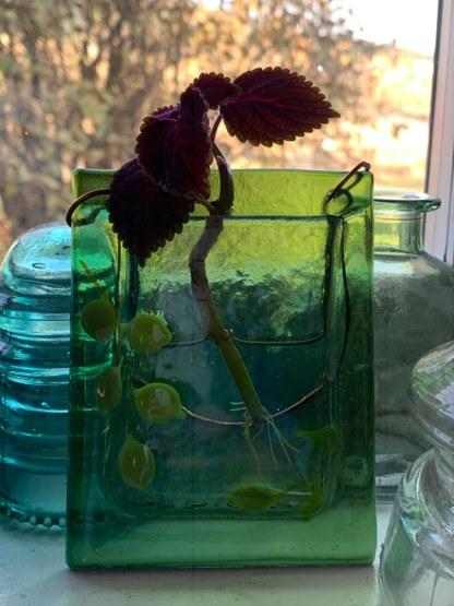 Rainbow Spring Leaves fused glass pocket vase by Janet Crosby