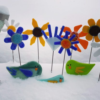 Birds & Flowers Garden Stakes by Janet Crosby