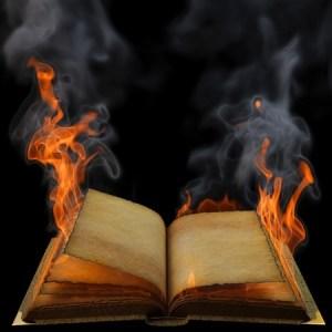 an open book on fire