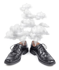 hectic business shoes exhausted, fuming