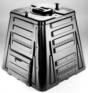a black compost container