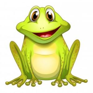 a cartoon green frog