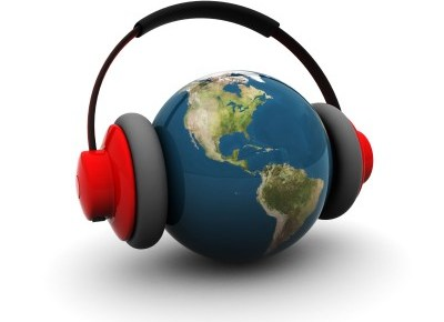 a globe of the earth with a set of headphones on it