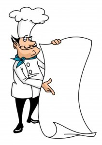 a cartoon chef holding his menu up