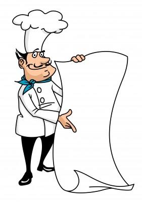 a cartoon chef holding his menu up
