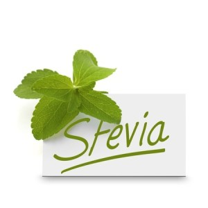 a green and white stevia plaque with a stevia leaf next to it