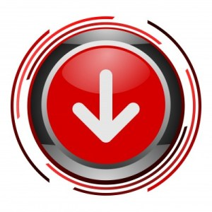 a red button with an arrow pointing down
