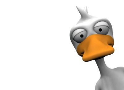 a cartoon duck peeking around the corner