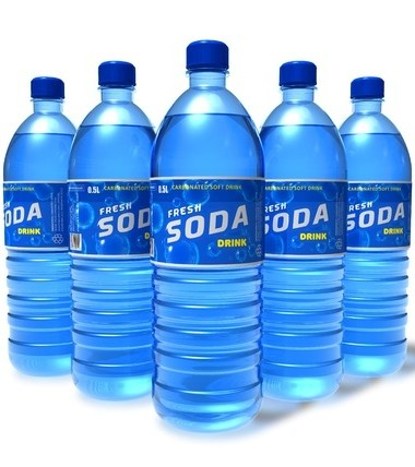 blue bottles of flavored water stacked like bowling pens