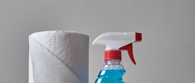 a plastic bottle of windex next to a roll of paper towels