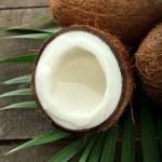 a real coconut split in half