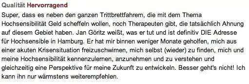 Bewertung von Jan Göritz - Heilpraktiker für Psychotherapie und Psychologischer Berater in Hamburg