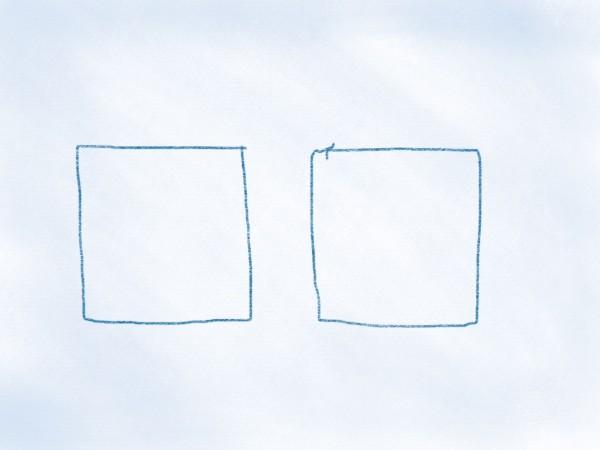 zwei Vierecke auf einer Seite