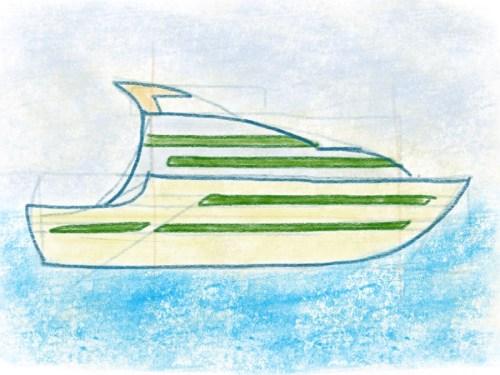 Luxus Yacht zeichnen Schritt für Schritt