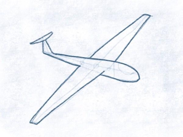 Segelflugzeug - Konturen zeichnen