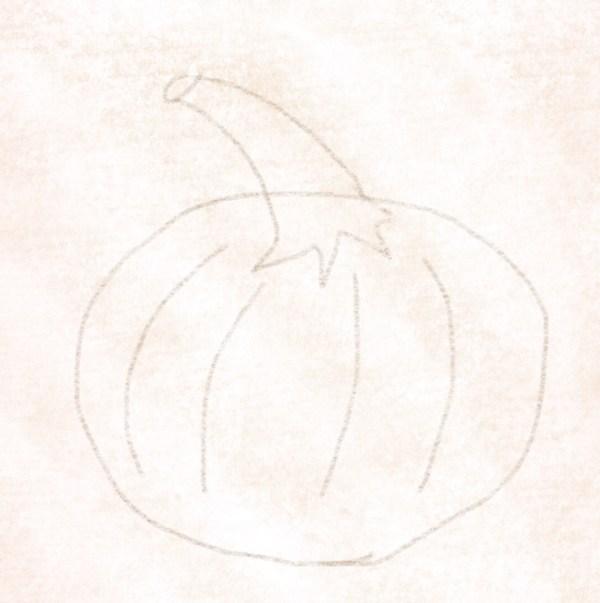 Die Perforationen in den Kürbis zeichnen