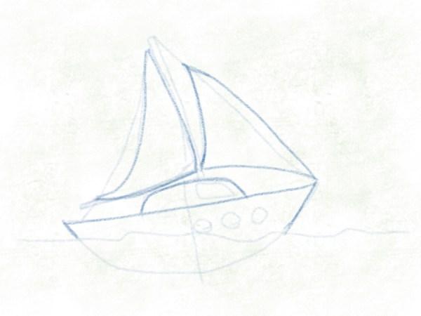 Segelboot – Konturen zeichnen