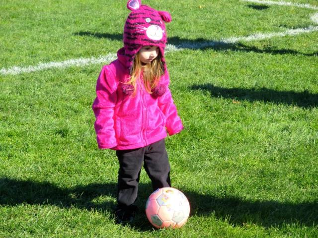 "Lily Playing ""Halloween"" Soccer Wearing Her Animal Hat to Dress Up for the Occasion!"