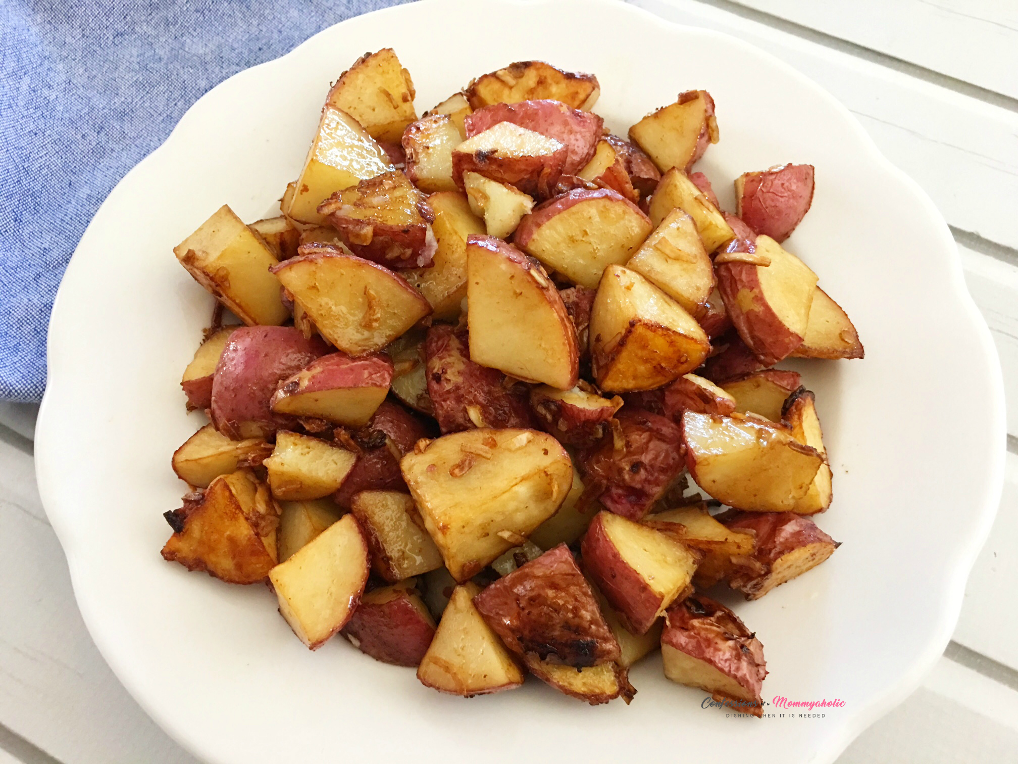 Oven Roasted Potatoes on Plate Horizontal