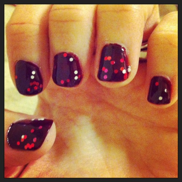 Dark Red and Glitter Nails