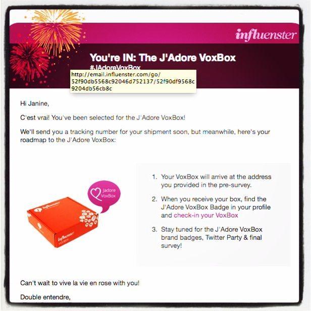 J'Adore Influenster Box E-mail