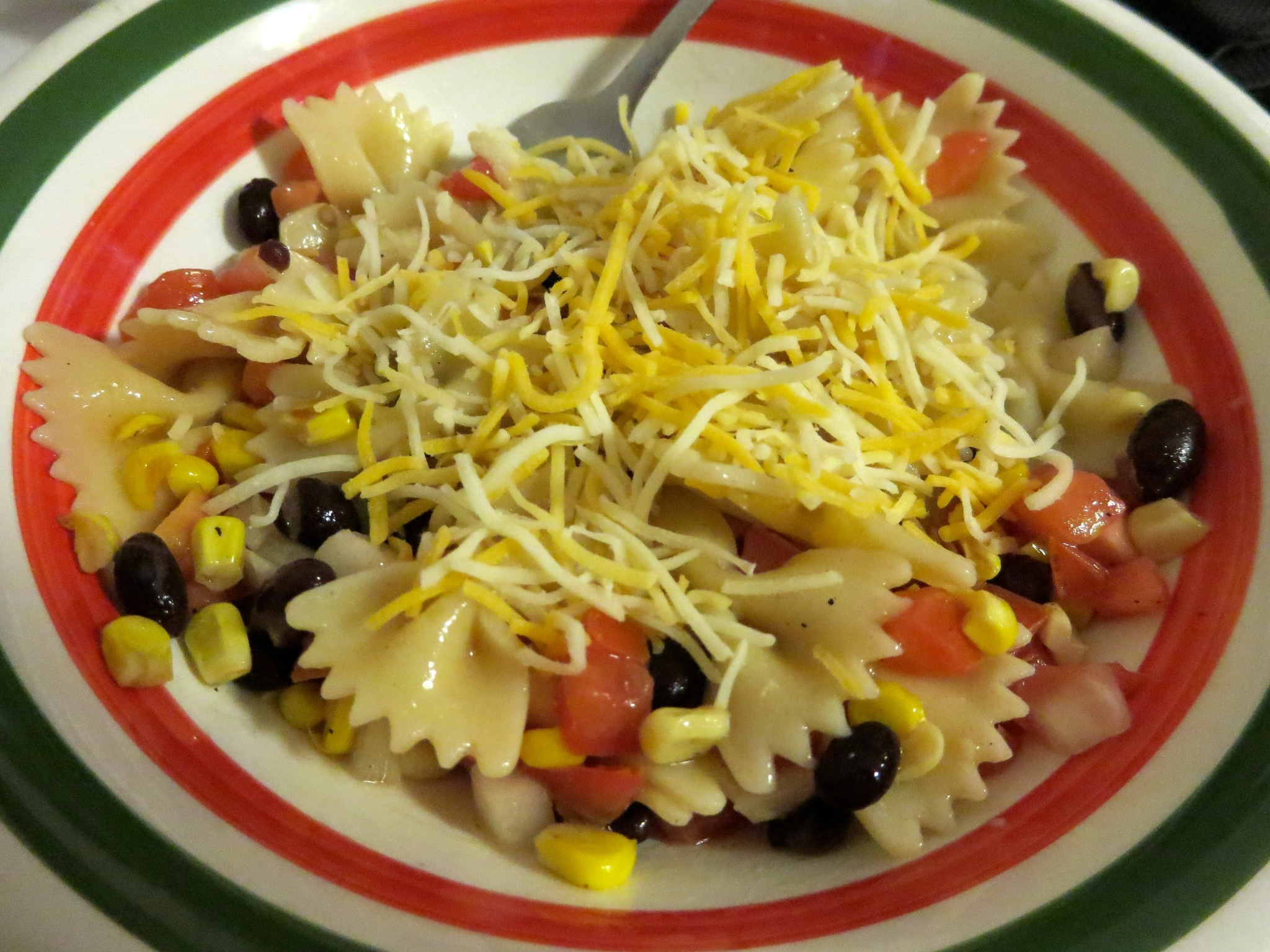 Roasted Corn, Black Bean, Tomato & Onion Tex-Mex Farfelle Recipe in Dish