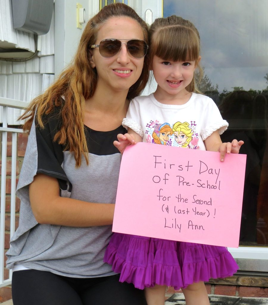 Lily and Mommy 1st Day of Preschool 2014