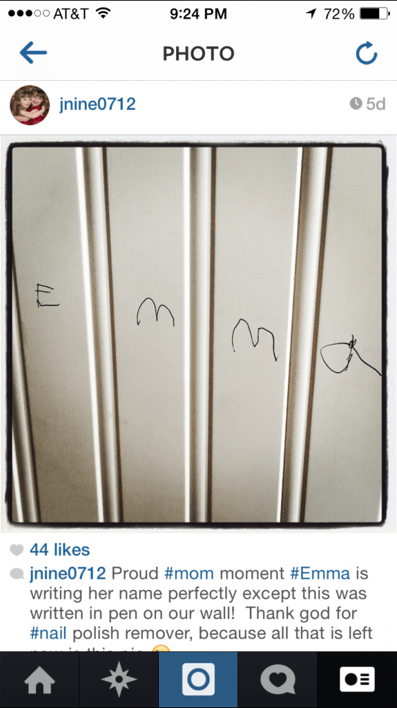 Instagram Emma's Name on Our Wall