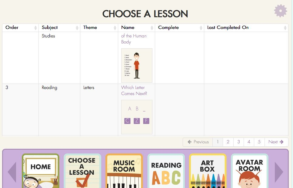 Choosing a Lesson on Miss Humblebee's Academy