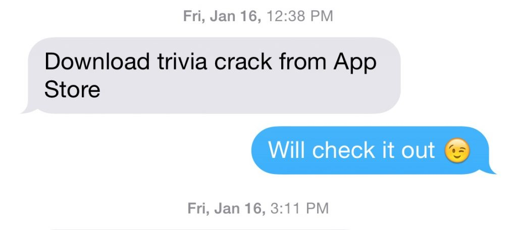 Trivia Crack Text Message