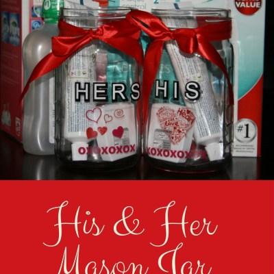 His & Her Mason Jar Toothbrush Caddies