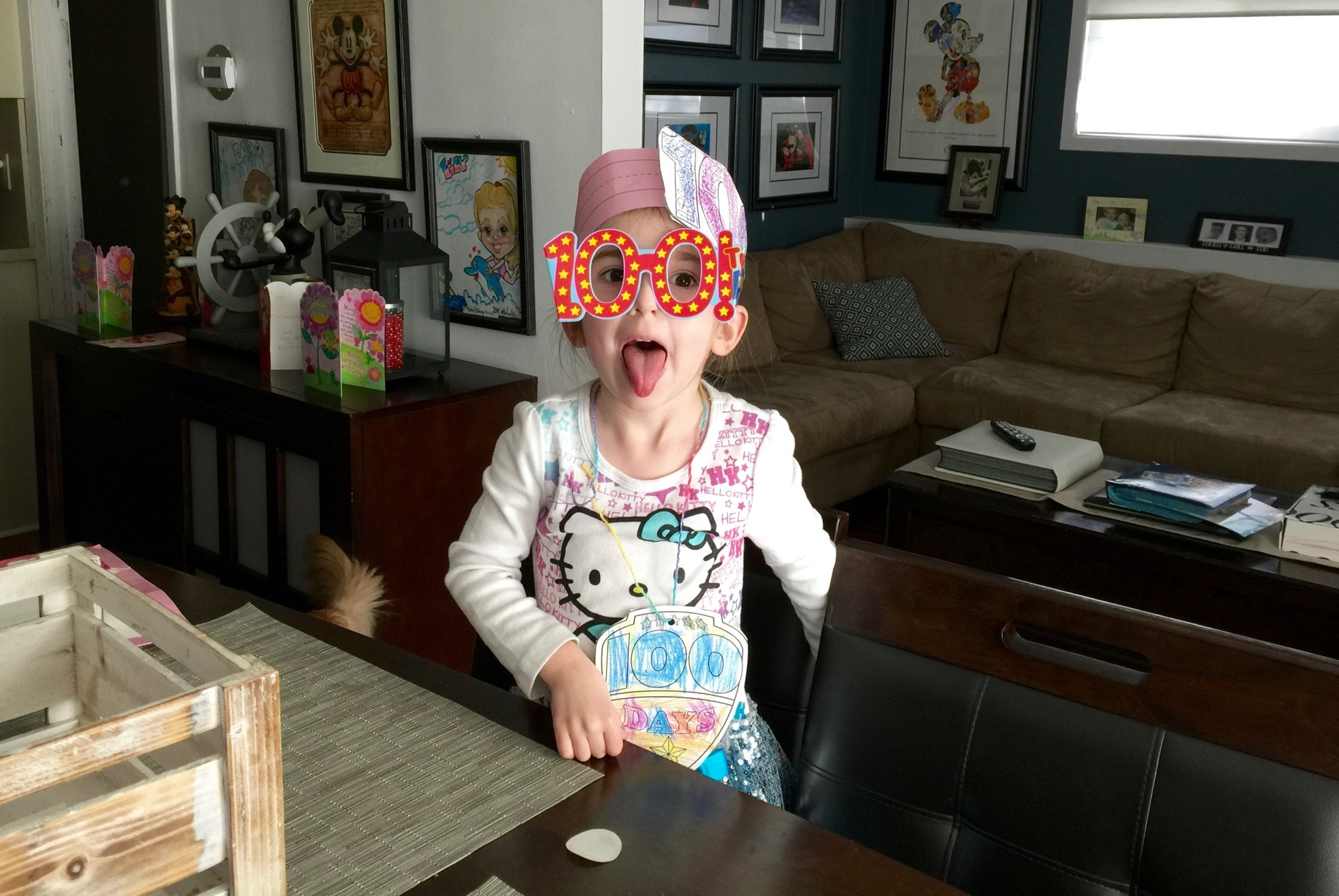 Lily being silly on the 100 Day of School